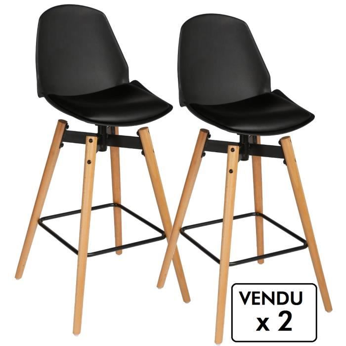 lot de 2 chaises de bar style scandinave coloris noir achat vente tabouret de bar noir. Black Bedroom Furniture Sets. Home Design Ideas