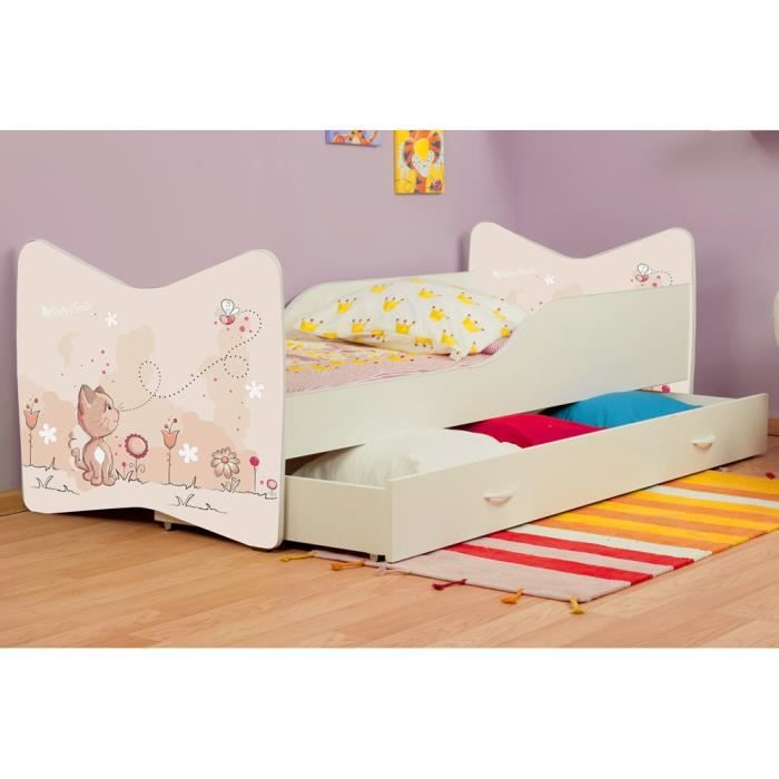 lit enfant petit chat tiroir sommier matelas 140x70 cm. Black Bedroom Furniture Sets. Home Design Ideas