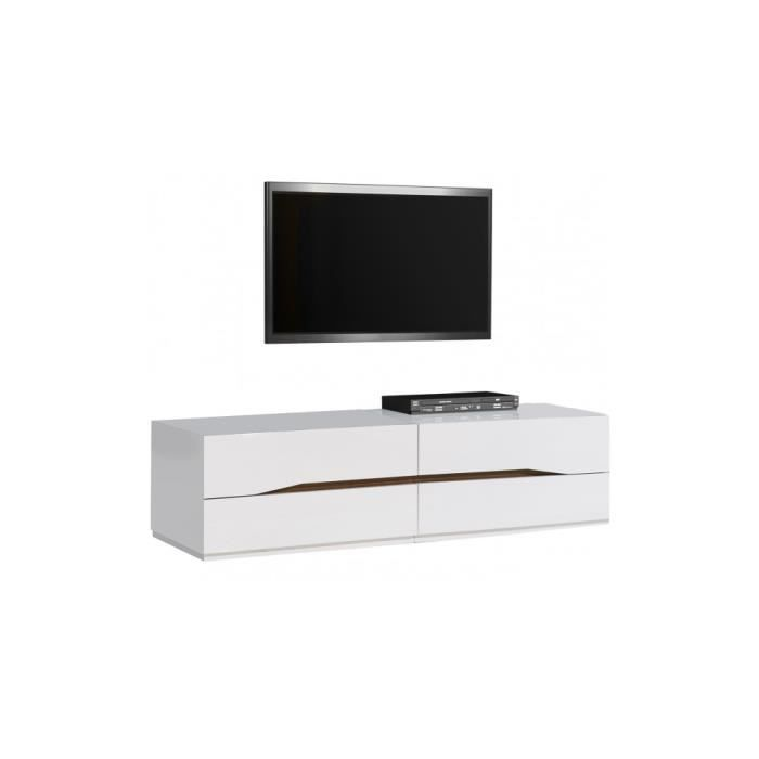 banc tv laqu blanc brillant 4 tiroirs achat vente. Black Bedroom Furniture Sets. Home Design Ideas