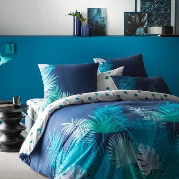 Housse De Couette 240x260 Inspiration Nuit Tropicale Bleu