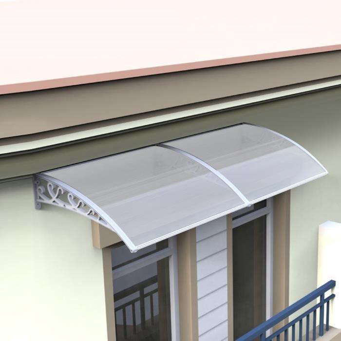 100*200 cm Auvent de Porte Entrée Marquise Solaire Porte Terrasse Toit Abri  Banne Entrée Ombre Protection