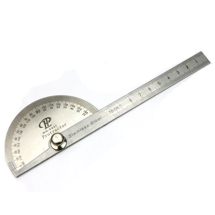 Gris poli 15cm Règle Protractors 180degrés Outil de mesure