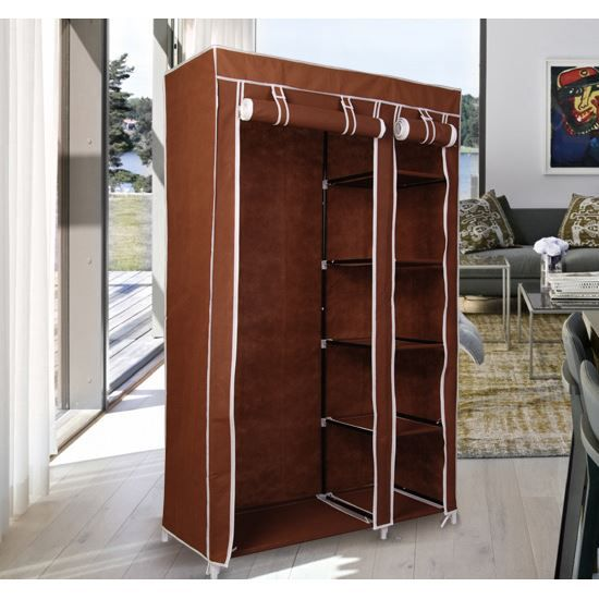 armoire en tissu 110x45x175cm brun achat vente boite. Black Bedroom Furniture Sets. Home Design Ideas