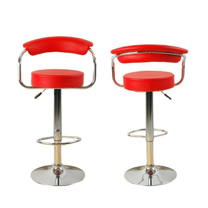 lot de 2 tabourets de bar ilot central cuisine bistrot simili cuir rouge baccara achat. Black Bedroom Furniture Sets. Home Design Ideas