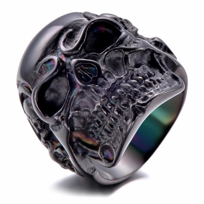 bijoux bague homme t te de mort cr ne gothique diable motard biker tribal acier. Black Bedroom Furniture Sets. Home Design Ideas
