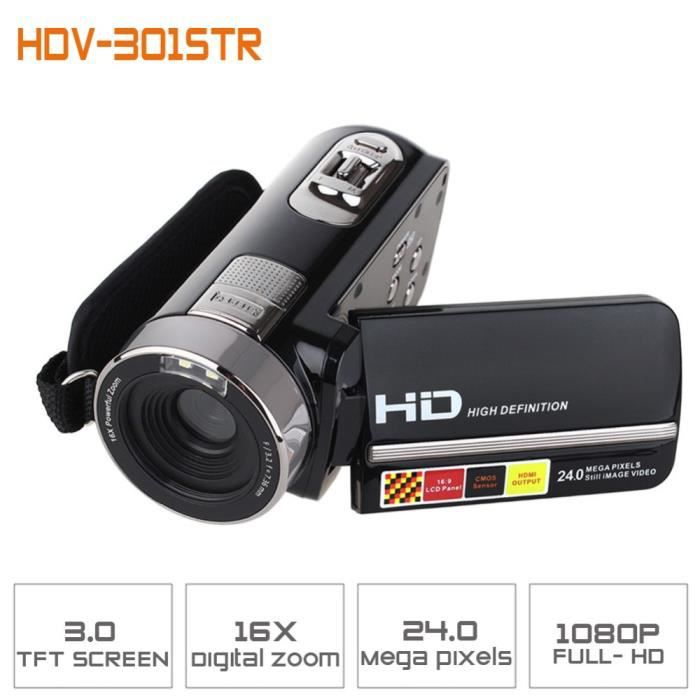 cam ras hdv 301 str vid o 1080p full hd 24mp mini camcorder 3 0 tft lcd orientable ir nuit shot. Black Bedroom Furniture Sets. Home Design Ideas
