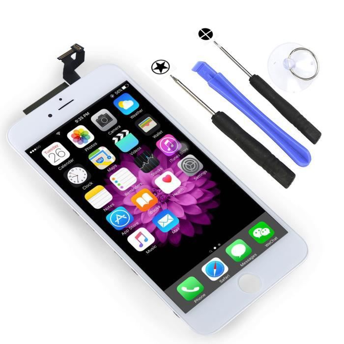blanc ecran lcd pour iphone 6s plus 5 5 sur chassis vitre tactile complet outils teste. Black Bedroom Furniture Sets. Home Design Ideas