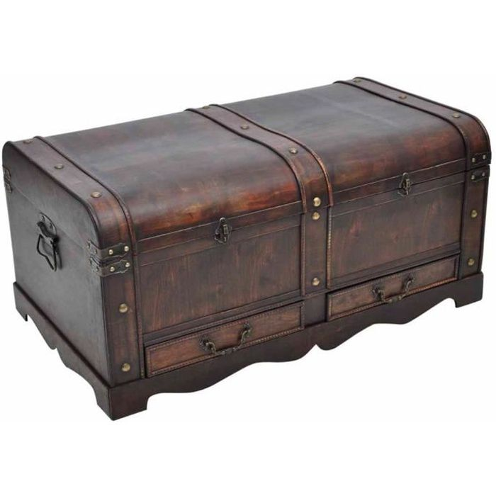 TABLE BASSE VIDAXL Coffre au trésor - Contreplaqué - Brun
