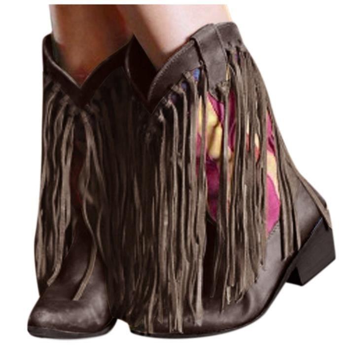 Pompon de couleur pour femmes à bout pointu Chaussures à talon plat Bottes Western Knight LQT90817602BW35_YOU
