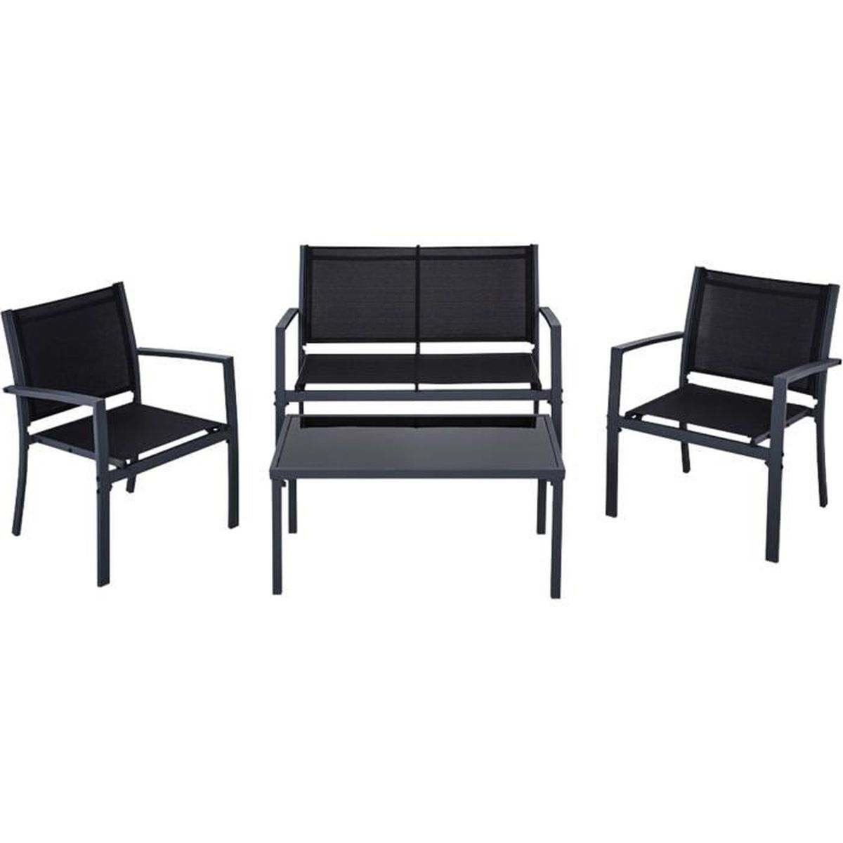 sully salon de jardin noir en acier 4 places achat. Black Bedroom Furniture Sets. Home Design Ideas
