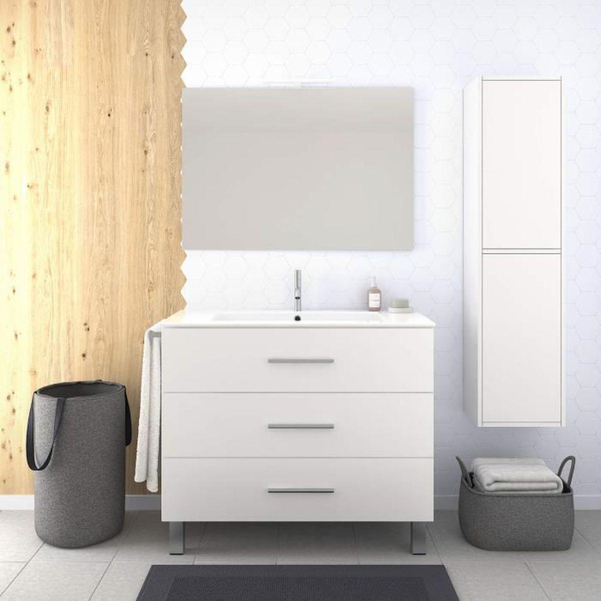 Meuble Pour Vasque Avec Colonne meuble de salle de bain 80 cm avec colonne lavabo 3 tiroirs