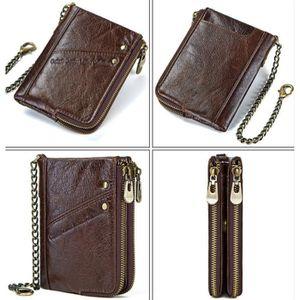 Hommes Motard Vintage Fermeture éclair poche//porte-carte Portefeuille en cuir sac à main avec chaîne