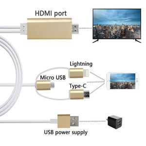 CÂBLE TV - VIDÉO - SON 3 en 1 Lightning/Micro USB/Type-C to HDTV HDMI Ada