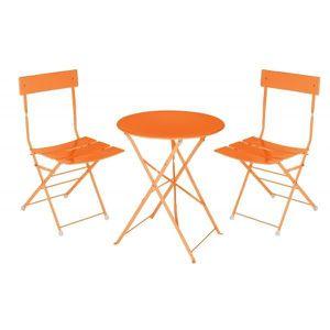 Ensemble table bistro metal orange - Achat / Vente ensemble ...
