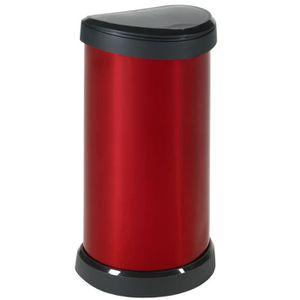 POUBELLE - CORBEILLE CURVER Poubelle 40L aspect métal Touch rouge