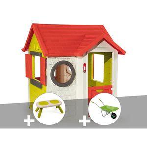 MAISONNETTE EXTÉRIEURE Cabane enfant My House - Smoby + Banc + Brouette 1