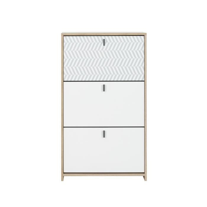 GAMI Meuble à chassures - Style scandinave - Made in France - Décor chêne et blanc - L 68 x P 30 x H 116 cm - JANEIRO