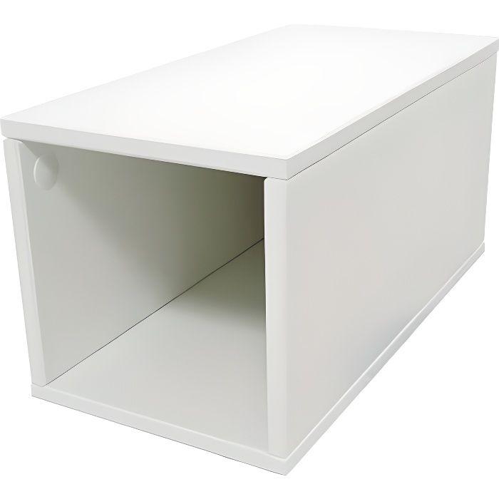Cube de rangement bois largeur 25 cm - Couleur - Blanc, Dimensions - 25x50