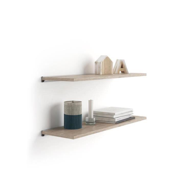 Mobili Fiver, Paire d'étagères Evolution 80x25 cm, Chêne Naturel, avec support en aluminium gris, Mélaminé/Aluminium, Made in Italy
