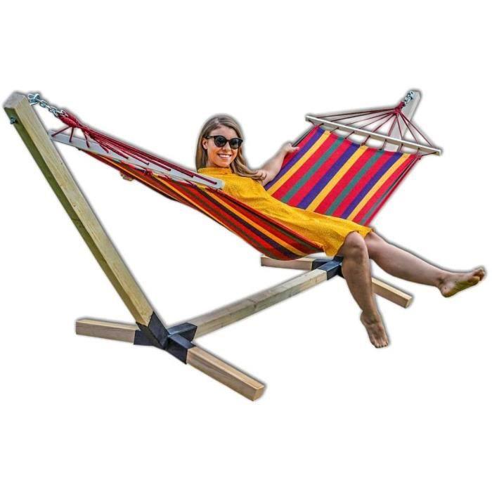 Hamac avec structure en bois de hêtre 320 cm Jusqu'à 150 kg rouge