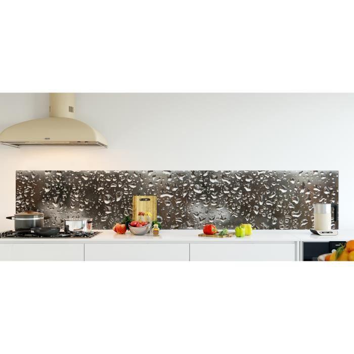 Crédence de cuisine adhésive en Verre de synthèse -Goutte de pluie- L. 270 x H. 50 cm