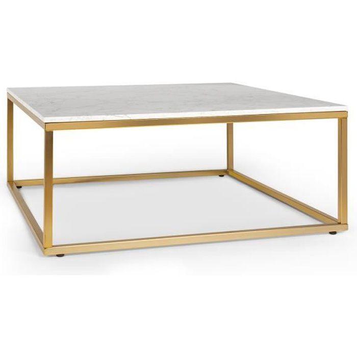 Besoa White Pearl 2 Table basse de salon 81,5 x 35 x 81,5cm (LxHxP) - Pieds réglables en hauteur - Design marbre doré & blanc