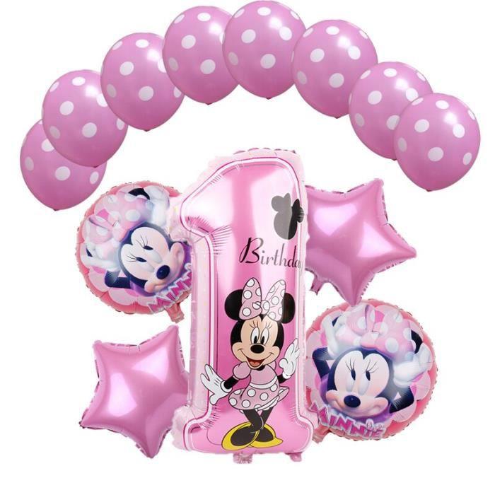 1 ensemble de ballons à hélium Mickey Minnie Mouse Star, décoration de fête d'anniversaire pour enfants, [2DA12B1]