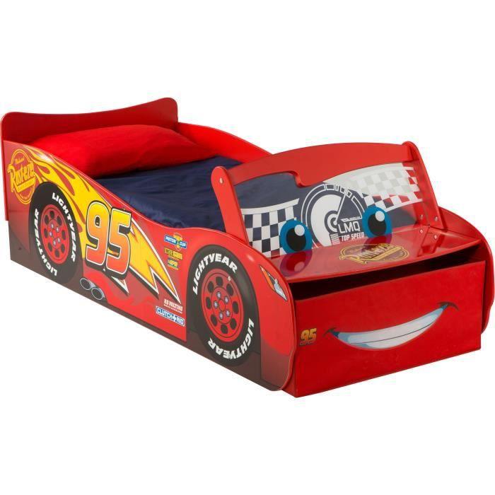 CARS Lit Enfant Flash McQueen avec Rangement - 140 x 70cm