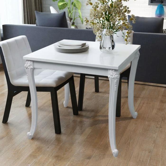 Table de salle à manger - Laquée Blanche - Design élégant - 80 x 80 x 76 cm