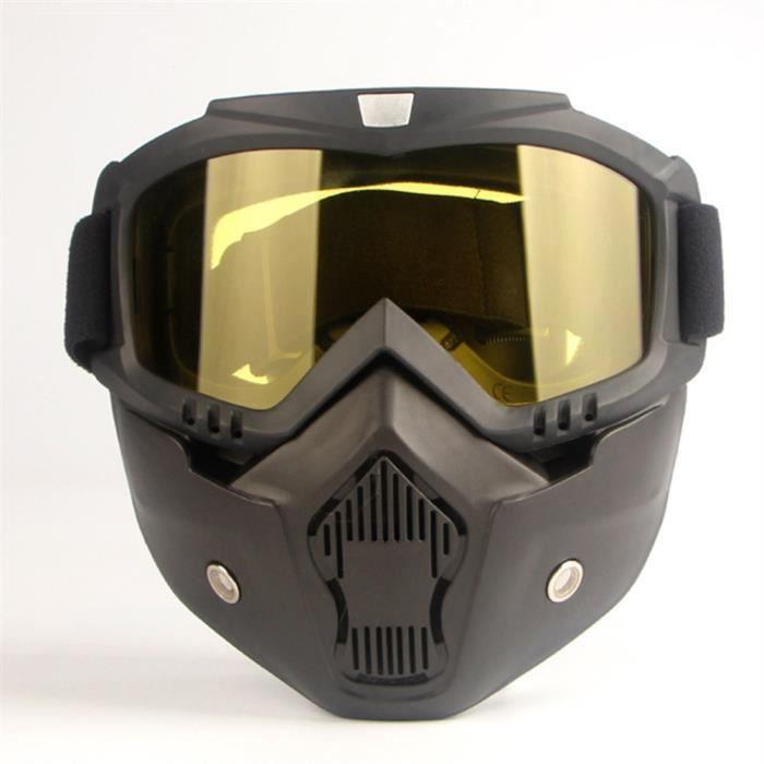 Masque de casque de moto Équitation Équipement hors route Amateurs de sports en plein air Masque de lunettes CS Jaune