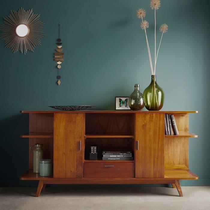 Buffet vintage en bois de mindy 2 portes 1 tiroir BOIS DESSUS BOIS DESSOUS