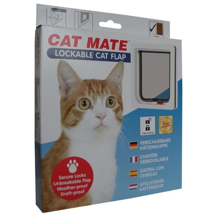 PET MATE Chatière verrouillable 304W - Blanc - Pour chat