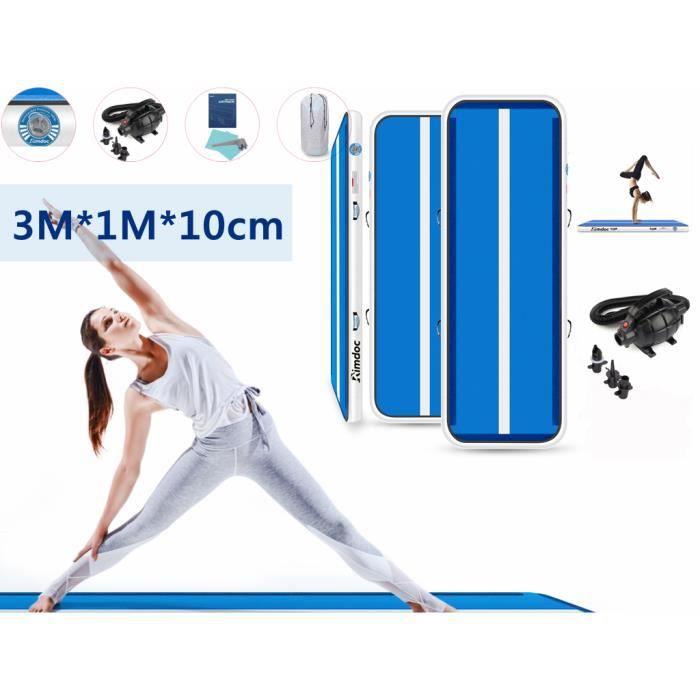 Airtrack Gymnastique 10cm Epaisseur, Tapis d'Entraînement 3M, Tapis Gonflable de Gymnase avec Pompe Electrique