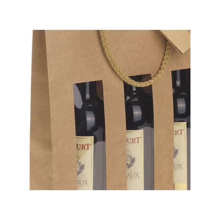 CLASSWINE Etui kraft marron à fenêtre pour 3 bouteilles