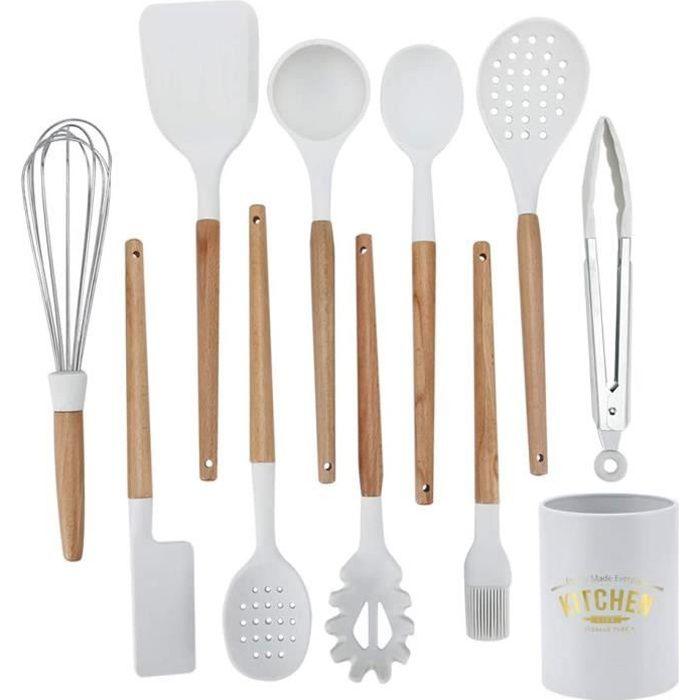 Set 10pcs ustensiles de cuisine blanc en silicone et bois avec Boîte de rangement Coffret