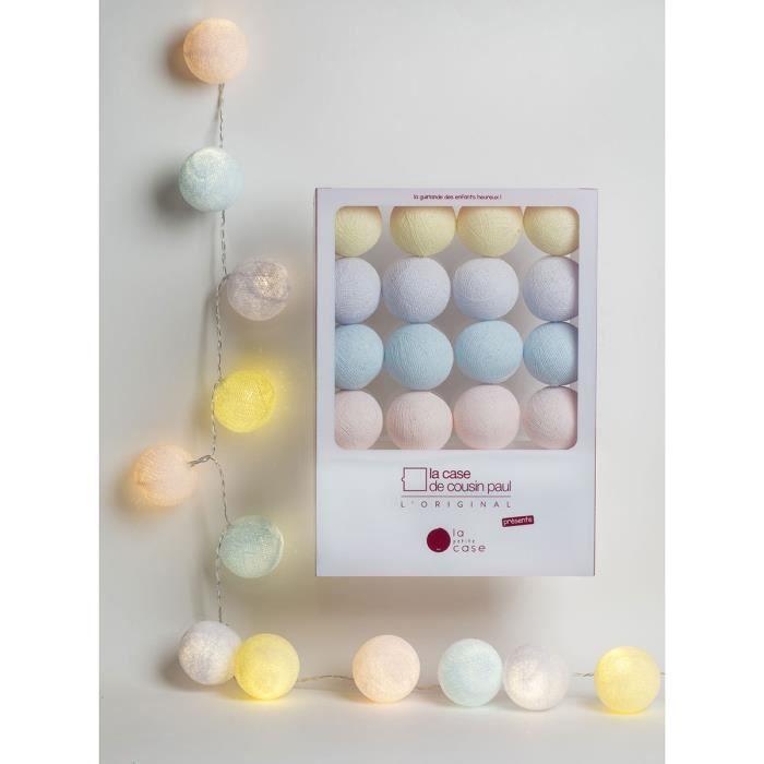 Guirlande Lumineuse La Petite Case Céleste LED - 16 Boules Blanc,Ivoire,Jaune Clair,Bleu Clair