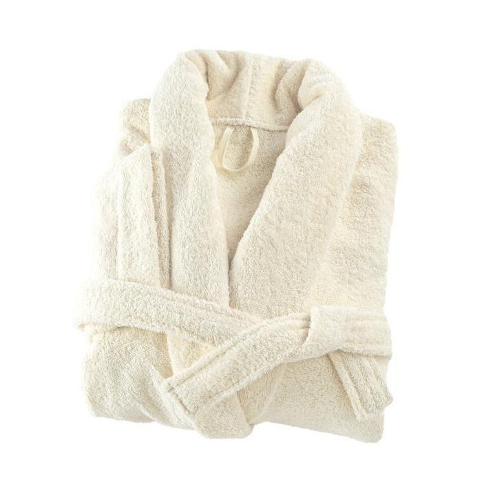 LINANDELLE - Peignoir coton éponge col chale PREMIUM - Ivoire - Adulte Femme - XS
