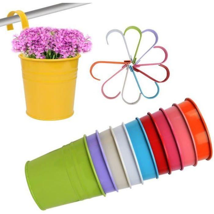 10pcs Pots de Fleurs Suspendu Colorés en Métal Pot de fleur avec Accroche Amovible Décoration Jardin Maison Balcon