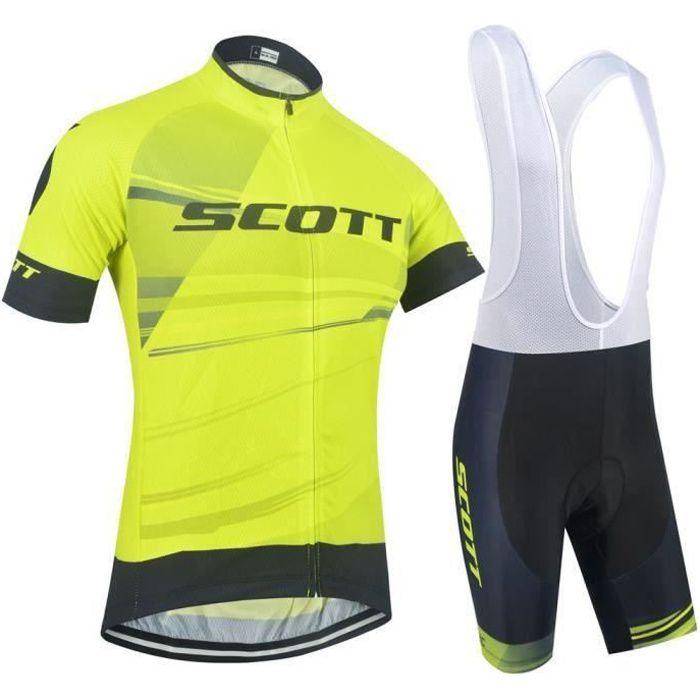 Maillot de Cyclisme Manches Courtes Tour de France + Cuissard à Vélo Homme GEL Combinaison VTT Ensemble de Vetement