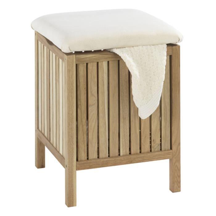Tabouret de salle de bain avec surface rembourrée - Dim : 39 x 52 x 39 cm