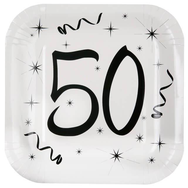 Assiette fête anniversaire 50 ans blanche et noire (x10) R/5240 Matière carton.