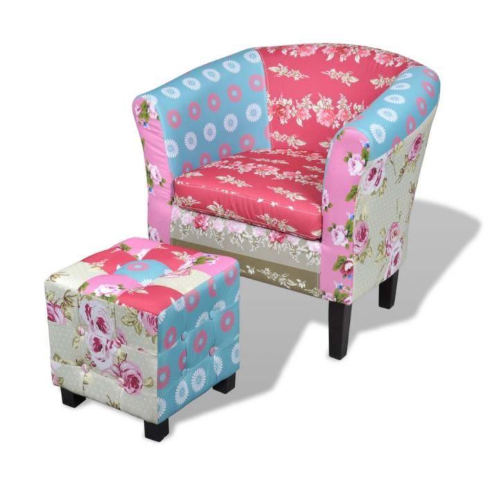 Fauteuil ergonomique avec repose-pieds Design floral patchwork multicolore Chaise de détente 68 x 60 x 70 cm