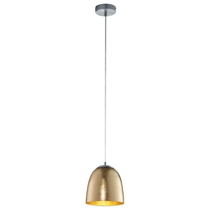 Lustre élégant suspension lampe éclairage doré verre opale salle à manger