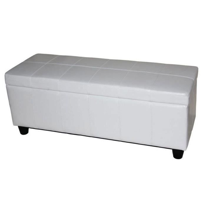 banc banquette coffre de rangement kriens cuir 112x45x45cm blanc achat vente banc banquette. Black Bedroom Furniture Sets. Home Design Ideas