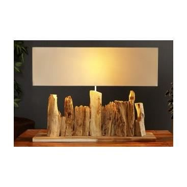 lampe de table en bois flott adriana achat vente lampe de table en bois flot bois toile. Black Bedroom Furniture Sets. Home Design Ideas