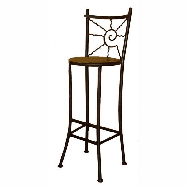 tabouret de bar soleil rond en fer forg achat vente. Black Bedroom Furniture Sets. Home Design Ideas