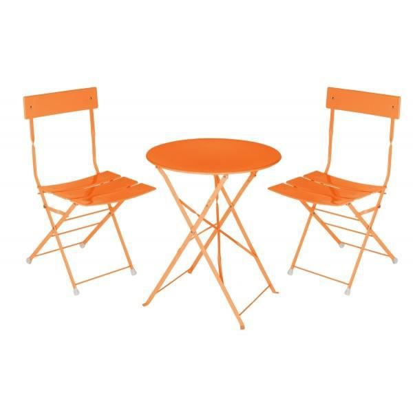 ensemble table bistro metal orange achat vente salon. Black Bedroom Furniture Sets. Home Design Ideas