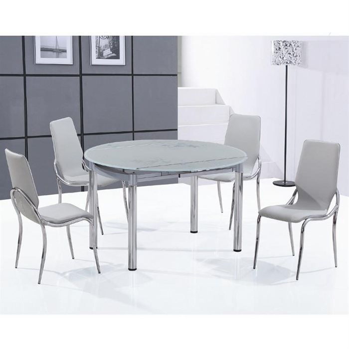 Ensemble table ronde en verre d poli 4 chaises achat for Table ronde 4 chaises