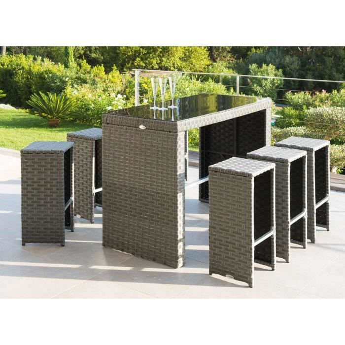 Ensemble table bar r sine tress e 6 tabourets tinos achat vente salon de jardin ensemble - Table salon de jardin resine tressee ...