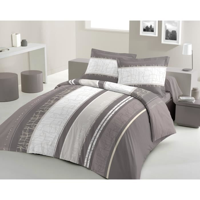 housse de couette 200x200 taupe achat vente housse de. Black Bedroom Furniture Sets. Home Design Ideas